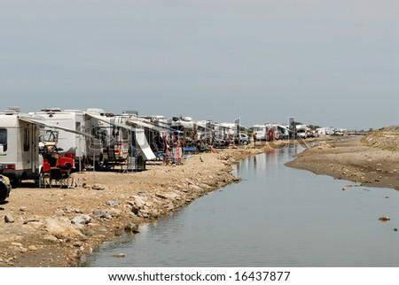 Motorhomes in Saintes-Maries-de-la-Mer, France - stock photo