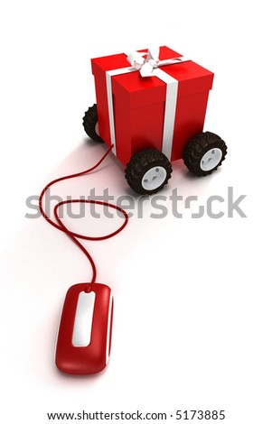 Motorized gift box connected to a mouse - stock photo