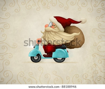 Motorized santa Claus delivery the gifts - stock photo