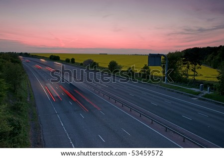 motorway at night - stock photo