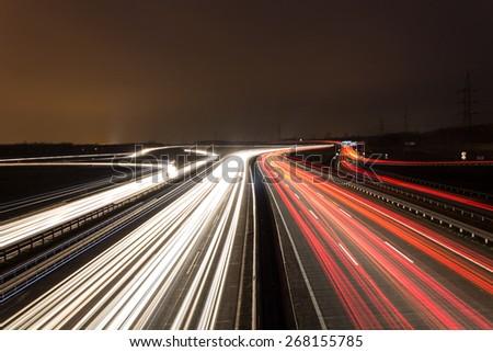 Motorway at night in Hungary - stock photo