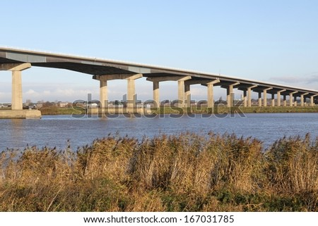 Motorway Bridge over The River Ouse near Goole, UK - stock photo