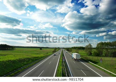 motorway in Germany - stock photo