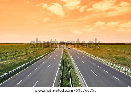 Motorway in sunset, Hungary