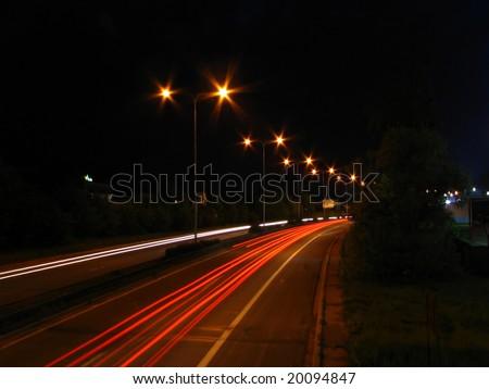 Motorway in the night - stock photo