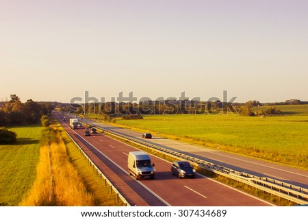 Motorway on the Countryside in Germany