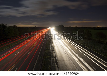 motorway trails M6 heading towards manchester - stock photo