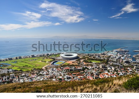 Mouille Point seen from Signal Hill - Cape Town - stock photo