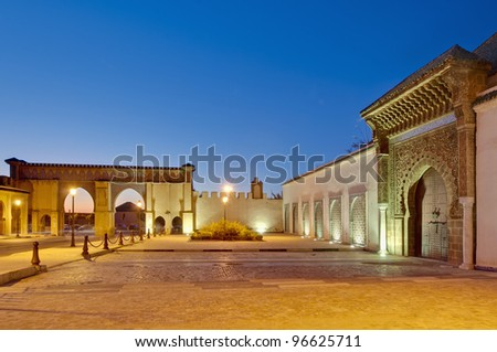 Moulay Ismail Mausoleum entrance door at Meknes, Morocco