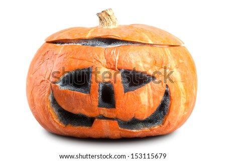 Mouldy Halloween Pumpkin. isolated - stock photo