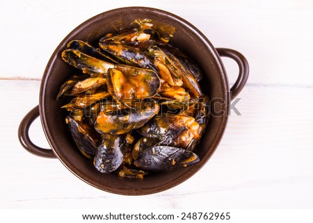 Moules,mussels in the pan - stock photo