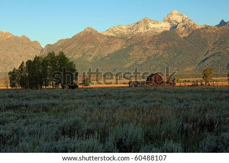 Moulton Barn on Mormon Row in Grand Teton National Park, Wyoming at sunrise with beautiful light on the mountains and just striking the barn and corrals. - stock photo