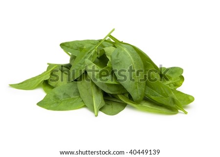 Mound of baby spinach leaves. Isolated on white with natural shadows.