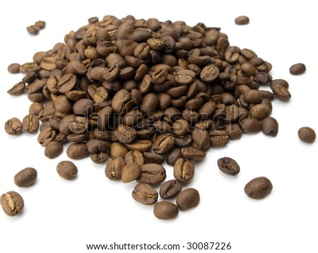 Mound of coffee beans isolated on white - stock photo