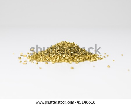 Mound of gold nuggets on natural white background.