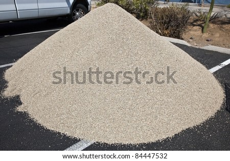 Mound of gravel for landscaping - stock photo