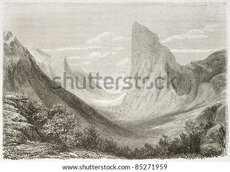 Mount Aiguille old view from Clelles, France. Created by Daubigny after Muston, published on Le Tour du Monde, Paris, 1860 - stock photo