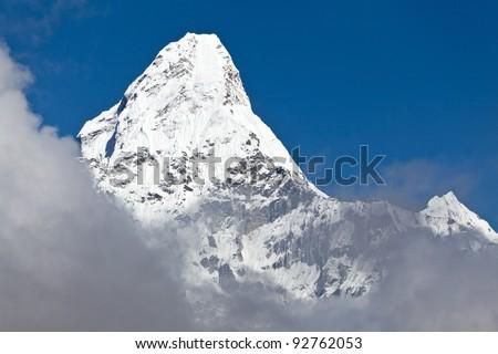Mount Ama Dablam in Himalaya Mountains, Nepal - stock photo