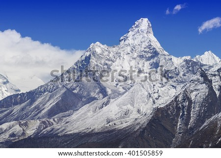 Mount Ama Dablam in the Nepal Himalaya, Everest Base Camp Trek.  - stock photo