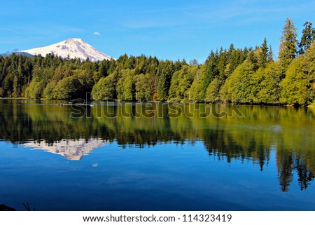 Mount Baker reflected in Baker Lake in the Mt. Baker-Snoqualmie National forest - stock photo