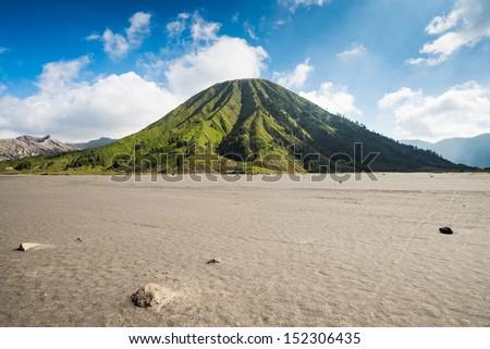 Mount Batok volcanoes in Bromo Tengger Semeru National Park, East Java, Indonesia. - stock photo