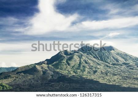 Mount Batur at morning, Bali - stock photo