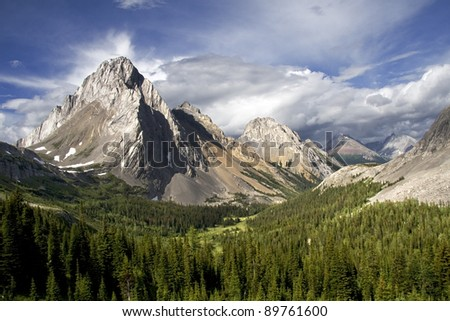 Mount Birdwood (left), Burstall Pass Hike, Spay Lake Valley, Alberta, Canada About 50 Km South of Canmore on the Smith Dorrien Trail (Road). - stock photo