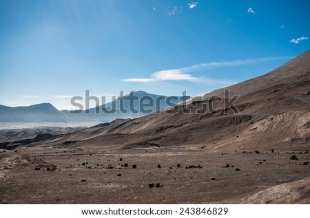 MOUNT BROMO , JAVA INDONESIA - 15 MAR 2014  :  Nice landscape around Bromo with beautiful weather and sky.