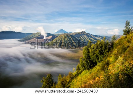 Mount Bromo, Mt Batok and Gunung Semeru in Java, Indonesia. - stock photo