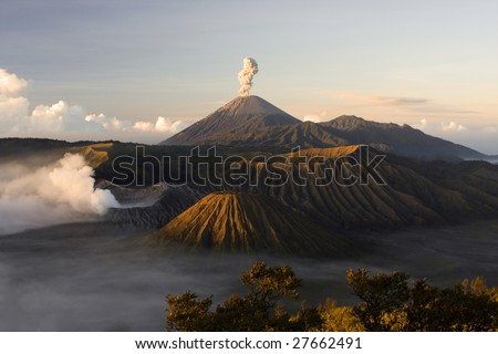 Mount Bromo volcano eruption - stock photo