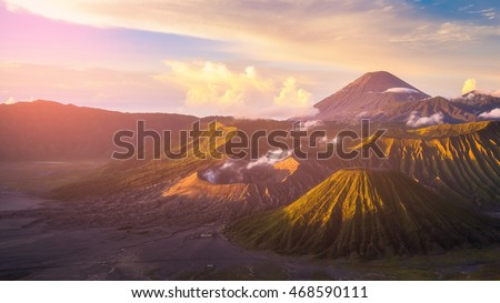 Mount Bromo volcano (Gunung Bromo) during sunrise from viewpoint on Mount Penanjakan. Mount Bromo located in Bromo Tengger Semeru National Park, East Java, Indonesia.