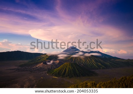 Mount Bromo volcanoes in Bromo Tengger Semeru National Park, East Java, Indonesia. - stock photo