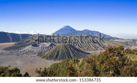 Mount Bromo volcanoes in Bromo Tengger Semeru National Park, Indonesia - stock photo