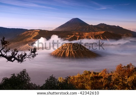 Mount Bromo volcanoes taken in Tengger Caldera, East Java, Indonesia. - stock photo