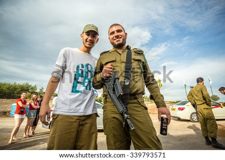 Mount Carmel, Israel - October 28, 2015: Two Israeli soldiers posing to the photo on Mount Carmel - stock photo