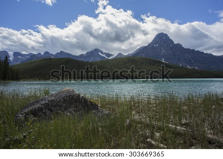 Mount Chephren and Waterfowl Lakes in Banff National Park, Alberta, Canada