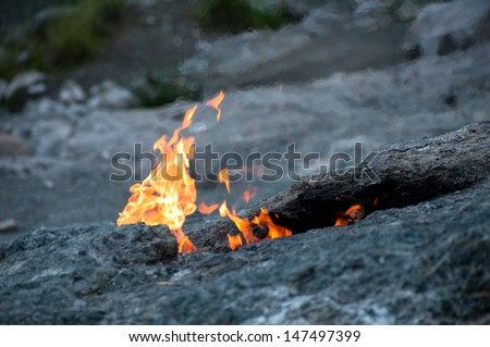 Mount Chimera, eternal flames in ancient Lycia (Turkey) - stock photo