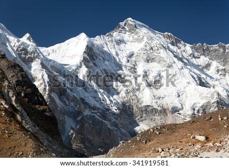 Mount Cho Oyu - way to Cho Oyu base camp - Everest area, Sagarmatha national park, Khumbu valley, Nepal  - stock photo