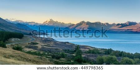 Mount Cook and lake Pukaki, New Zealand - stock photo