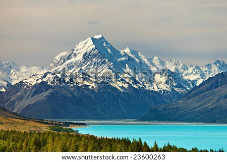 Mount Cook and Pukaki lake, New Zealand - stock photo