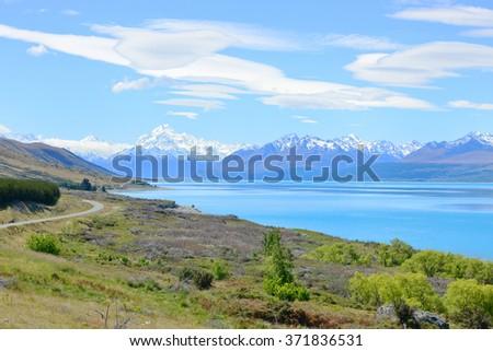 Mount Cook and Pukaki lake, New Zealand - stock photo