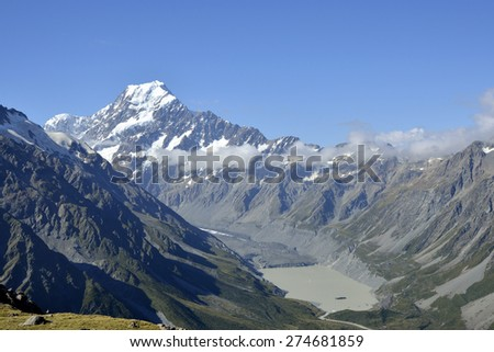 Mount Cook and Tasman lake in Aoraki National park, New Zealand.
