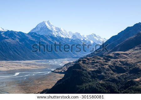 mount cook from helicopter