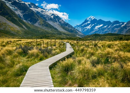 Mount cook from the Hooker Valley, Mt cook is New Zealand highest Mountain - stock photo
