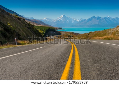 Mount Cook, South Island - New Zealand highest mountain - stock photo