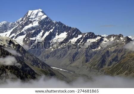 Mount Cook view in Aoraki National park in New Zealand. - stock photo