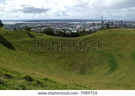 Mount Eden, volcanic crater in Auckland, New Zealand - stock photo
