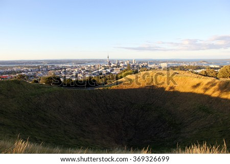 Mount Eden, with a view on Auckland, New Zealand.  - stock photo