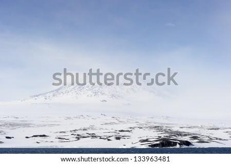 Mount Erebus on Antarctica. - stock photo