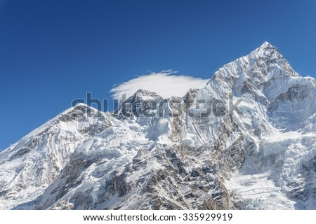 Mount Everest and Nuptse with its slope covered with glaciers and ice-falls. The photo was taken from the summit of Kala Patthar, Nepal - stock photo
